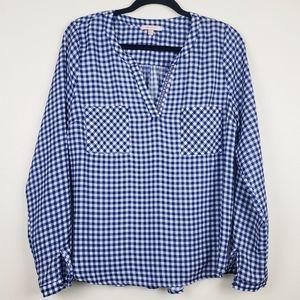 Skies are Blue | Gingam Popover Blouse, Size M